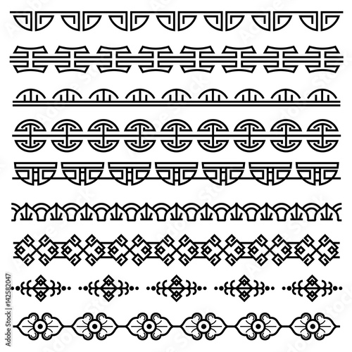 Chinese decoration, traditional antique korean pattern, vector asian seamless borders set © MicroOne