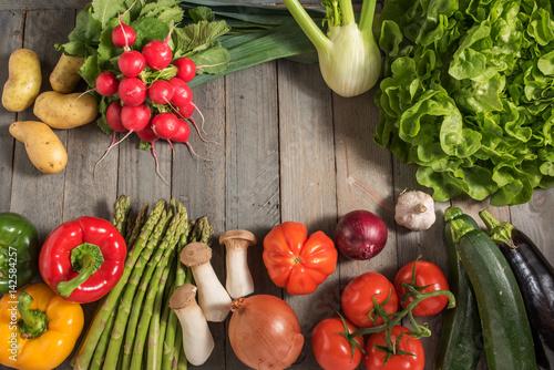 Healthy fresh vegetables on rustic wood