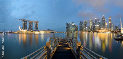 Panoramic view of Singapore Skyline at the Marina Bay. Poster