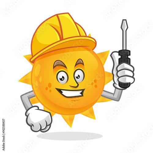 Worker sun mascot wearing hard hat and holding screwdriver, sun character, sun cartoon vector