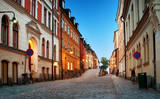 Street in old town Stockholm at night in summer