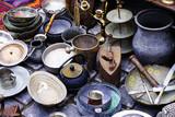 vintage Oriental silver ceramic Turkish dishes.
