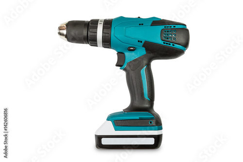 Teal color cordless combi drill Poster