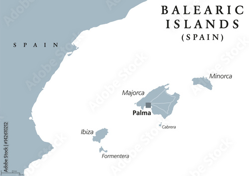 Balearic Islands political map with capital Palma. Majorca, Minorca, Ibiza, Formentera. Spain autonomous community in Mediterranean Sea. Gray illustration on white background. English labeling. Vector