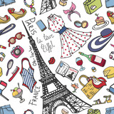 Paris France fashion seamless pattern.Summer Womancolored wear