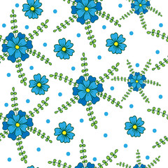 Vector seamless floral pattern with little blue flower on light background