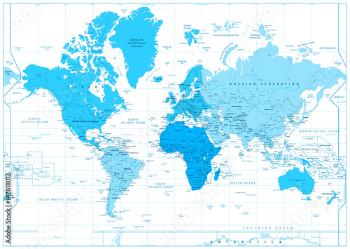 Fotobehang Wereldkaarten World Map with continents in colors of blue isolated on white