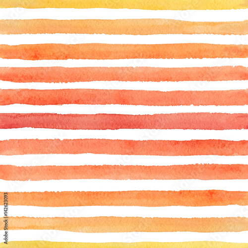 Materiał do szycia Hand drawn seamless watercolor pattern with colorful strokes on the white background