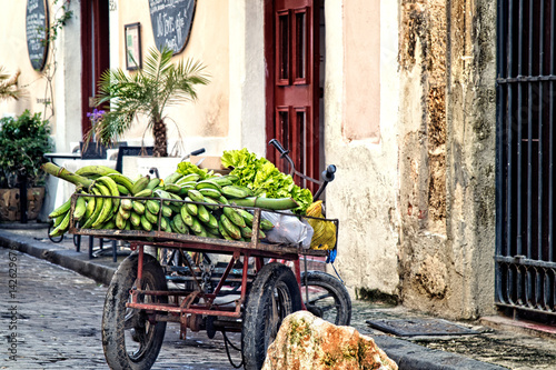 Aluminium Havana Fruit cart on the streets of Havana Cuba