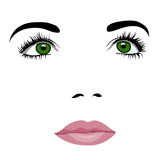 Fototapety Simple pop art styled woman face with green eyes looking up. Easy editable layered vector illustration.