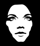 Fototapety Close up monochrome portrait of girl looking up. Woman face layered vector illustration.