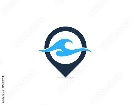 Ocean Pin Point Icon Logo Design Element