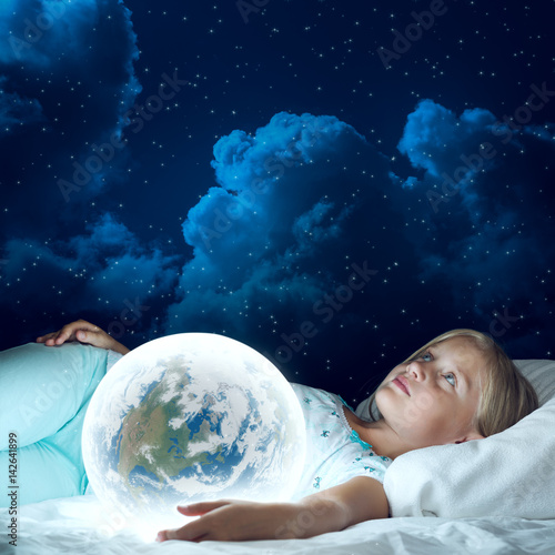 Poster Girl in her bed and glowing globe
