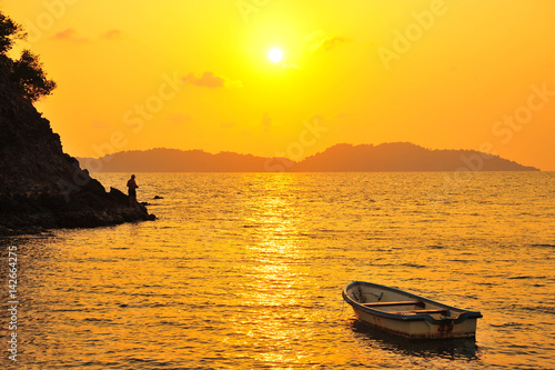 Beach on Tropical Islands at Sunset