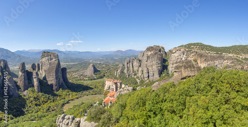Poster Panoramic view on rocks with Meteora Monastery