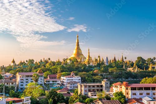Poster Yangon skyline with Shwedagon Pagoda