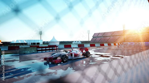 Foto op Plexiglas F1 Racer of formula 1 in a racing car. Race and motivation concept. Wonderfull sunset. Realistic 4k animation.