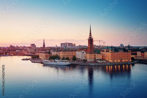 Aluminium Stockholm view at Stockholm at night in summer