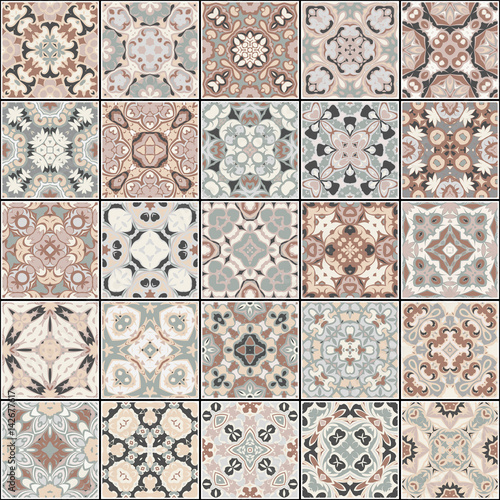 A collection of ceramic tiles in blue and brown colors. A set of square patterns in eastern style. Vector illustration. - 142677617