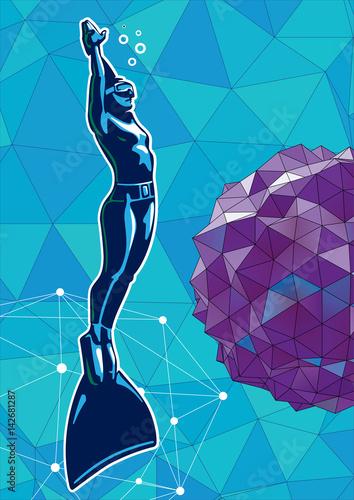 kobieta-nurek-pod-woda-ilustracja-w-stylu-logo-sportu