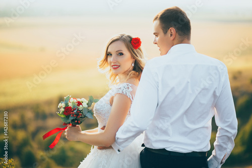 stylish gorgeous couple newlyweds standing on the rocks in the mountains Poster