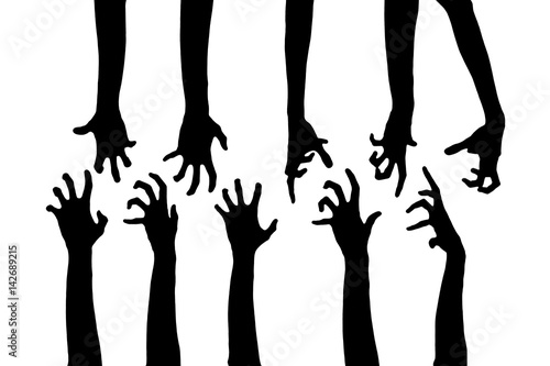 Black Zombie hands isolated on white background. Zombie theeme with corpse hands on cemetery. Walking dead apocalypse. Halloween theme.