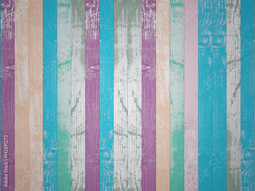 Fototapeta Backgrounds of bright, colorful old boards. 3D Render