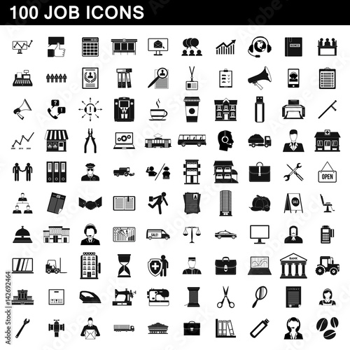 100 job icons set, simple style