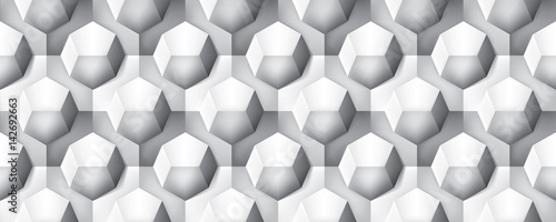 Volume realistic seamless texture, octahedron, gray 3d geometric pattern, design vector background - 142692663