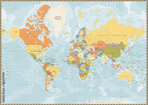 Fototapeta Political World Map vintage color with lakes and rivers