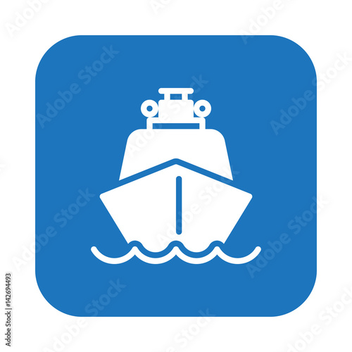 Ship, boat flat icon, filled vector sign, colorful pictogram on rounded square button isolated on white. Symbol, logo illustration. Flat design, pixel perfect
