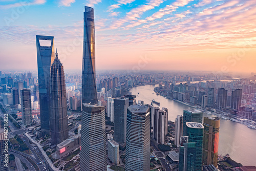 Foto Murales Aerial view of Shanghai city.