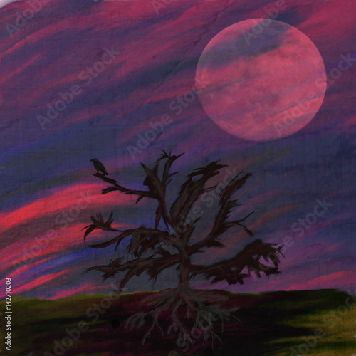 Foto op Aluminium Crimson abstract spooky mixed media background with spooky silhouette of dark tree and crow on it, big moon rising, zombie time background