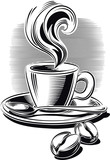 Cup of steaming coffee.