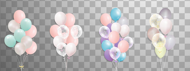 Bunches and groups of colorful helium balloons isolated on transparent background. Frosted party balloon for event design. Party decorations for birthday, anniversary, celebration.