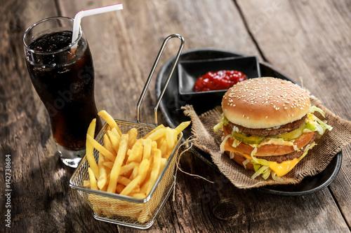 burger, frites & coca cola 5 Poster