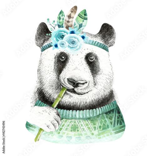 Watercolor panda illustration. Bohemian cute animal. Boho style. Nursary art print. Feathers collection - 142743496