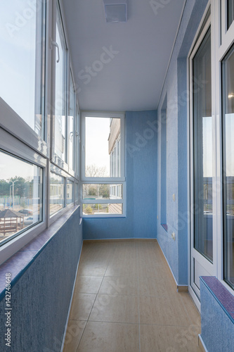 Plakat Interior renovated balcony of multistory apartment house