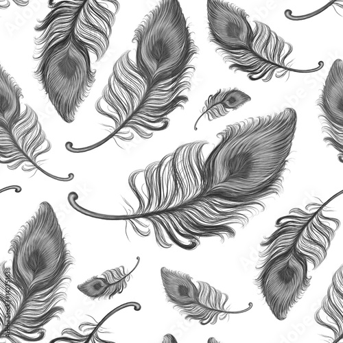 Hand drawn black feathers used for seamless wallpaper, black and white illustration painted by pencil on the white background, high quality © Iryna
