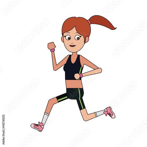 happy woman running cartoon icon image vector illustration design