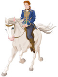 Prince Charming riding a horse