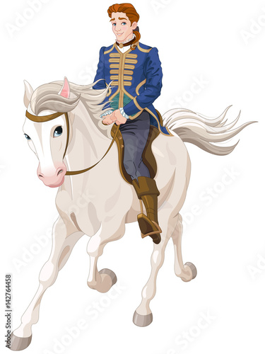 Staande foto Sprookjeswereld Prince Charming riding a horse