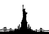 New York City skyline with Statue of liberty Vector - 142769662