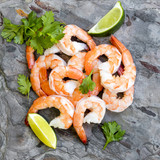 Shrimps on Slate Top View with Lime and Cilantro - 142773239