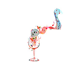 Colorful Wineglass  Music Notes   Illustration  For Restaurant Poster Restaurant Menu Music Events Festivals And Promotions Sticker