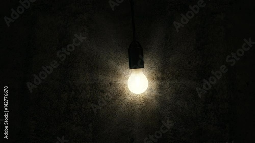 Staande foto Industrial geb. 4K Seamless Looping Animation of Hanging Swaying Light Bulb in the Empty Concrete Room Interior
