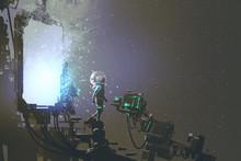 "Постер, картина, фотообои ""the astronaut walking out through futuristic portal, sci-fi concept, illustration painting"""