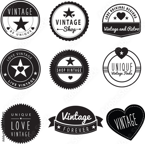 set of vintage retro logos for a generic brand