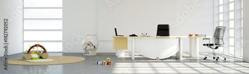 Home office with toys panorama