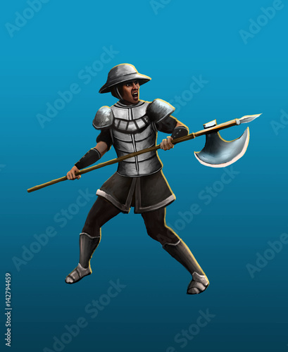Medieval hulberdist in the fighting stance - 142794459
